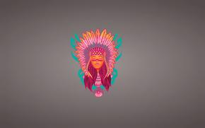 face, plumage, minimalism, squaw, Injun, girl, Dreamcatcher