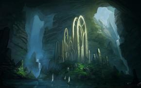 пейзаж, арт, руины, девушка, вода, арки, корабли, скалы, рыжая