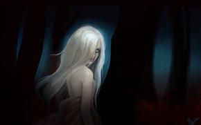 лес, арт, фантастика, ночь, белые глаза, листья, волосы, деревоья, взгляд, демон, девушка