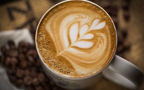 cup, капучино, pattern, White, foam, Grain, mug, drink, coffee