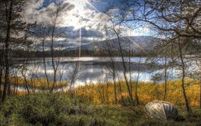arbres, lac, bateau, paysage, soleil, automne