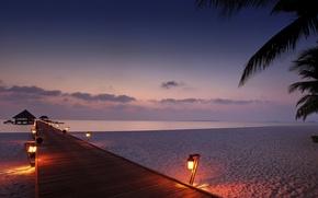 evening, cabin, lights, bridge, sand, sea, lantern, palm, sky, beach, light, clouds, bungalow