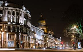 luci, luci, Peter, strada, Pietroburgo, notte, stradale