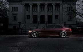 бмв, бордовый, колоны, BMW, профиль, здание