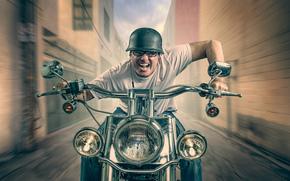 каска, скорость, мотоциклист