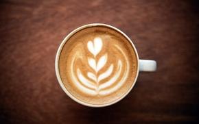 pattern, mug, foam, coffee, White, heart, капучино, cup