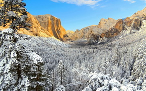 USA, Yosemite, California, winter, national park
