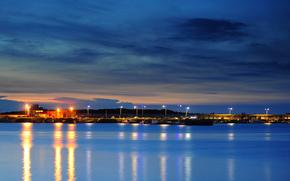 sera, tramonto, luci, città, cielo, azzurro, Taiwan, illuminazione, nuvole, Stretto, crepuscolo, porto, arancione