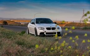 BMW, бмв, вечер, белый, обочина, дорога