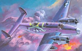 взрывы, американский, двухмоторный, морской, арт, рисунок, облака, огонь, земля, ударный, небо, бомбардировщик