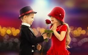 роза, детство, мальчик, любовь, День святого Валентина, девочка, ребенок, пара, романтика