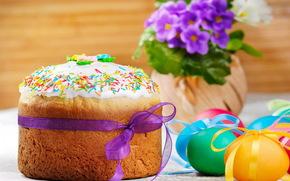 кулич, яйца, весна, фиалки, пасха