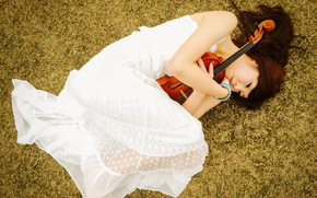Asian, violin, Music, girl