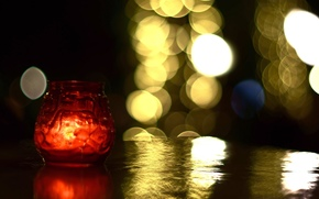 jar, red, background, bokeh, fullscreen, candle, light, Mood, degradation, fire, table, свечка, BANK, wallpaper, Widescreen, Widescreen