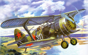 fighter, ships, wharf, Art, drawing, Soviet, sky, river, plane, биплан, shore, land, clouds