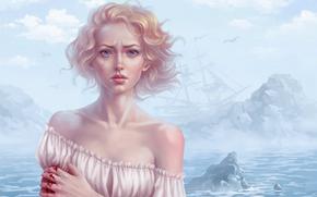 нарисованная девушка, blonde, blood, ship, wind, Tears, clouds, sea, SEAGULLS, Art
