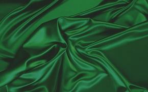 складки, темная, зеленая, ткань, текстура