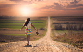 barefoot, SPACE, girl, road