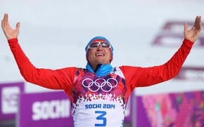 масс-старт, лыжные гонки, victory, олимпийский чемпион, glasses, лыжник, Александр Легков, Russia, hands, happiness