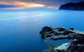португалия, закат, скалы, море
