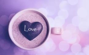 сердечко, чашка, надпись, кружка, камушек, песок