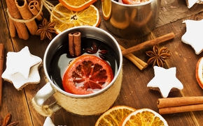 oranges, пряности, New Year, cup, анис, бадьян, глинтвейн, holidays, cookies, Christmas, корица, winter, drink, wine, Sticks, asterisk