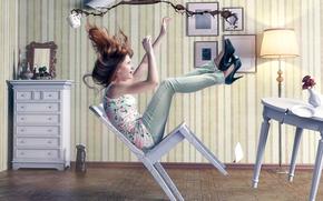 sedia, cadute, ragazza, caffè, tazza, stanza, situazione