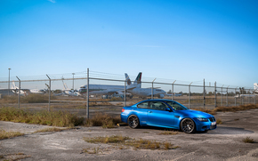 BMW, fencing, blue, Side view, bmw, barbed wire