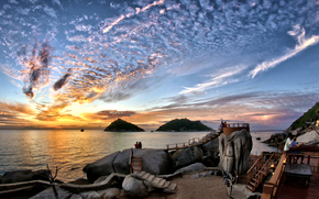 """clouds, Gulf of Thailand, evening, paradise for holiday, stones, sunset, """"Turtle Island"""", cafe, sky, Belvederes, Koh Tao, Visitors, thailand, shore"""