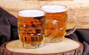 ткань, дерево, пиво, кружки, пена