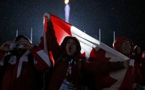 fans, Olympic, flag, fire, Canada, fans, Sochi, torch