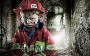 портрет, юный пожарник, мальчик