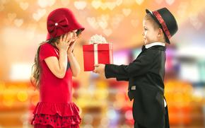 день рождения, подарок, джентльмен, Маленькая леди, девочка, мальчик, дети