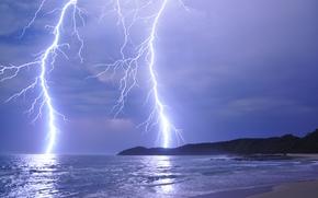 sea, shore, lightning, landscape