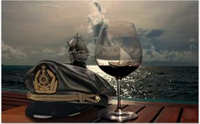Schwimmen, Ozean, CAPTAIN, Hut, Schiff, Glas, cap, cap, Weinglas, mast, Himmel, versenden, HORIZON, Segel, Meer, Wolken