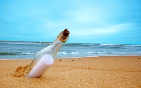 carta da parati, imbottigliare, appunto, sfondo, Mood, fiume, lettera, Widescreen, sabbia, acqua, spiaggia, Widescreen, messaggio, fullscreen, mare