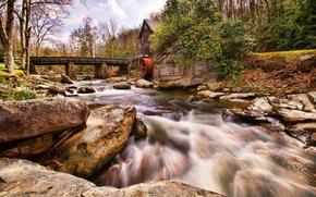 河, 石头, 桥, 磨, 景观