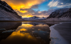 озеро, закат, облака, горы, лед, снег, холод