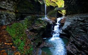 Rocks, waterfall, pond, bridge, stage, landscape, nature