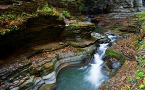Rocas, cascada, río, estanque, naturaleza