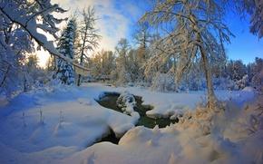 hiver, rivière, nature, neige, ciel, coucher du soleil