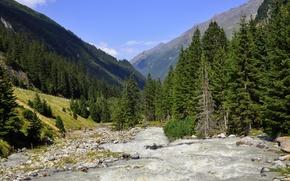 river, trees, Mountains, landscape