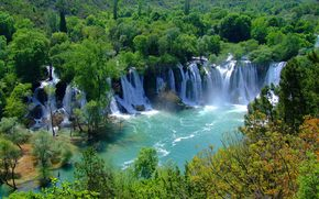 river, forest, waterfalls, trees, landscape