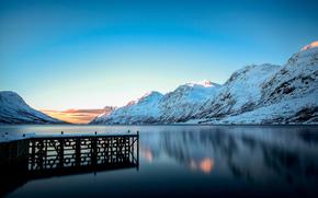 Mountains, winter, snow, PEARCE, lake, wharf