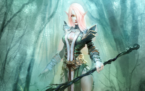 staff, girl, Elf, forest, armor