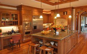 кухня, стиль, светильники, техника, стол.