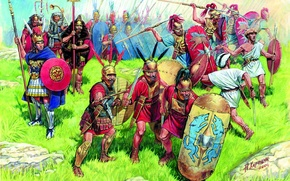 dart, gastaty, land, orders, grass, Swords, centurion, A.Karaschuk, drawing, infantry, stones, Principles, armor, decals, shields, triarii, spears, Roman, Art, Republic