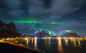 aurora boreale, notte, Norvegia, Le isole Lofoten