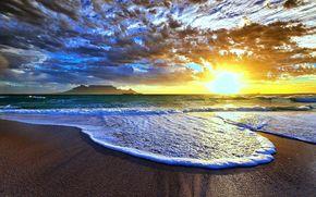 oceano, cielo, spiaggia, sera, sole, tramonto, schiuma, nuvole
