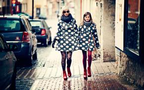 одежда, мода, мама, улица, дочка, город, девочка